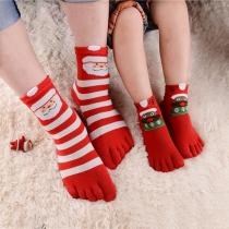 Niedliche Zehensocken mit Weihnachtlichem Muster in Kontrastierenden Farben 5 Paar/Set