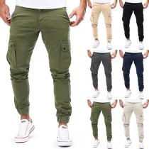 Lässige Hose für Herren in Volltonfarbe mit Seitentaschen