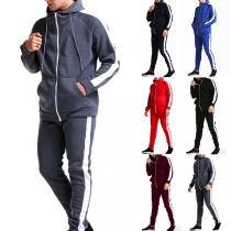 Modischer Sportanzug für Herren in Kontrastierenden Farben bestehend aus Kapuzenpullover + Hose