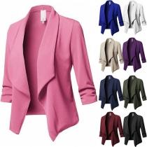 Stilvoller Blazer mit Langen Ärmeln Revers Volltonfarbe und Schlanker Passform