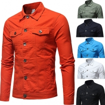 Moderne Jeansjacke für Herren in Volltonfarbe mit Langen Ärmeln und Polo-Kragen