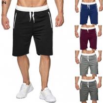 Modische Knielange Shorts für Herren in Kontrastierenden Farben mit Tunnelzug