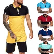 Modischer Sportanzug für Herren in Kontrastierenden Farben bestehend aus einem T-Shirt mit Kurzen Ärmeln und Polo-Kragen + Shorts
