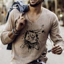 Modisches Sweatshirt für Herren mit Langen Ärmeln Schickem Motiv und V-Ausschnitt