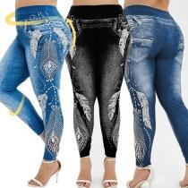 Moderne Leggings aus Imitations-Jeansstoff mit Hoher Taille und Schickem Muster