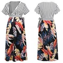 Sexy Umstandskleid zum Stillen mit V-Ausschnitt Streifen Kurzen Ärmeln Hoher Taille und Schickem Muster