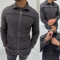 Moderne Jacke für Herren in Volltonfarbe mit Langen Ärmeln Polo-Kragen und Reißverschluss