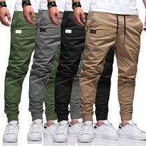 Lässiges Hose für Herren in Volltonfarbe mit Mittlere Taille Elastischen Beinöffnungen