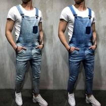 Lässige Latzhose aus Jeansstoff für Herren mit Mittlerer Taille und Aufgesetzter Tasche
