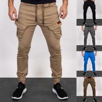 Lässige Hose für Herren in Volltonfarbe mit Taille mit Tunnelzug und Seitentaschen