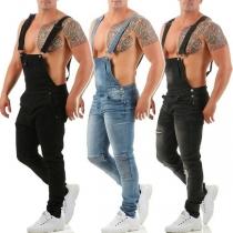 Modische Latzhose aus Jeansstoff für Herren mit Mittlerer Taille Schlanker Passform und Rissen