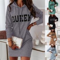 Lässiges Sweatshirtkleid mit Langen Ärmeln Kapuze und Textaufdruck