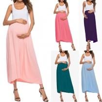 Modisches Ärmelloses Sommerkleid für Schwangere in Kontrastierenden Farben mit Rundhalsausschnitt
