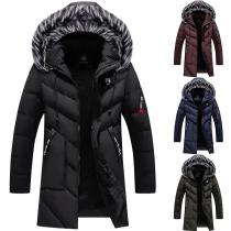 Moderner Gepolsterter Mantel für Herren in Volltonfarbe mit Kapuze mit Kunstpelz und Schlanker Passform