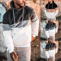 Moderner Hoodie aus Plüsch für Herren in Kontrastierenden Farben mit Langen Ärmeln und Kapuze