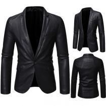 Moderne Anzugjacke für Herren aus Kunstleder mit Langen Ärmeln Volltonfarbe und Schlanker Passform