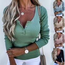 Modisches Sweatshirt in Volltonfarbe mit Langen Ärmeln und V-Ausschnitt mit Knöpfen