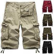 Lässige Knielange Shorts für Herren mit Mittlerer Taille Seitentaschen und Volltonfarbe