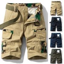Modernes Knielange Herrenshorts mit Mittlerer Taille und Seitentaschen mit Tarnmuster