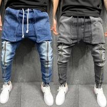 Lässige Jeans für Herren mit Mittlerer Taille mit Tunnelzug und Großen Taschen