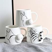 Keramiktasse mit Niedlichem Katzen-/Kaninchen-Motiv