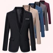 Stilvoller Blazer für Herren mit Langen Ärmeln Einem Knopf Volltonfarbe und Schlanker Passform