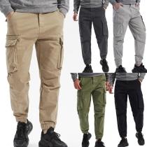 Moderne Hose für Herren in Volltonfarbe mit Mittlerer Taille und Seitentaschen