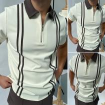 Modisches Top für Herren in Kontrastierenden Farben mit Kurzen Ärmeln und Polo-Kragen