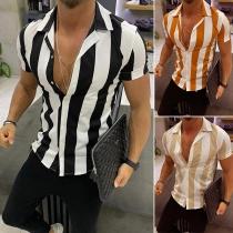 Modernes Gestreiftes Hemd für Herren mit Kurzen Ärmeln Polo-Kragen und Einreihigem Design