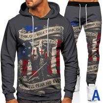 Lässiger Sportanzug für Herren bestehend aus einem Hoodie mit Bunter Flagge Langen Ärmeln und Kapuze + Hose