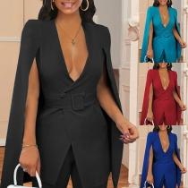 Sexy Deep V-neck Slit Long Sleeve Solid Color Slim Fit Suit Coat Blazer