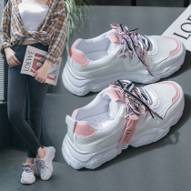 Casual Style Contrast Color Lace-up Sneakers