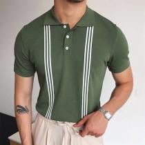 Modisches T-Shirt für Herren mit Streifen Kurzen Ärmeln und Polo-Kragen