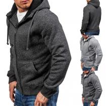 Moderner Lässiger Hoodie für Herren in Volltonfarbe mit Langen Ärmeln und Kapuze