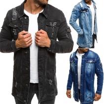 Modische Jeansjacke für Herren mit Langen Ärmeln Polo-Kragen Einreihigem Design und Rissen