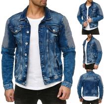 Moderne Jeansjacke für Herren Patch in Kontrastierender Farbe Langen Ärmeln Polo-Kragen und Einreihigem Design