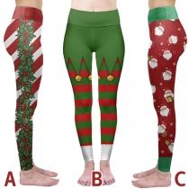 Niedliche Dehnbare Sportleggings mit Weihnachtlichem Muster und Hoher Taille