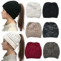 Fashion Solid Color Hollow Out Ponytail Knit Beanies