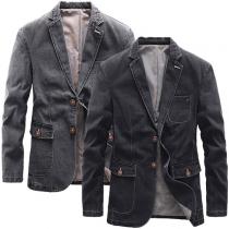 Fashion Long Sleeve Notched Lapel Single-breasted Man's Denim Coat