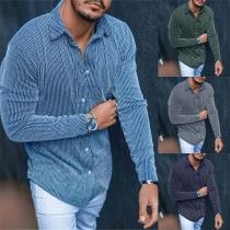 Modisches Gestreiftes Hemd für Herren mit Langen Ärmeln Polo-Kragen und Einreihigem Design