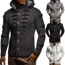 Modische Strickjacke für Herren mit Einreihigem Design Kapuze und Langen Ärmeln