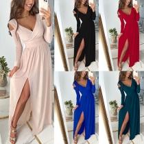 Sexy Off-shoulder V-neck Slit Hem Long Sleeve High Waist Solid Color Dress