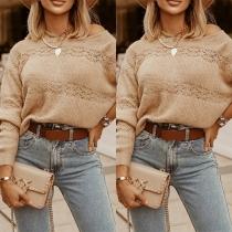 Sexy Oblique Shoulder Long Sleeve Solid Color Loose Knit Top