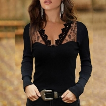 Sexy See-through Lace Spliced V-neck Long Sleeve Slim Fit T-shirt