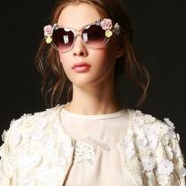 Sonnenbrille Keramik mit Blumen für Damen mit klarem Rahmen