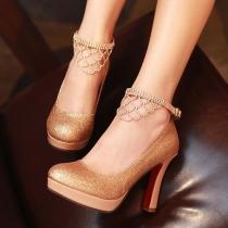 Hochzeitsgedichte Schuhe Glitter Stilette Knöchelriemen Strasssteine-Plattform-Pumpen