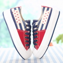 Kontrastfarbe Stern-Streifen Lässige Low Top Sneaker Platform