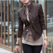 Elegante klassische Kurzmantel Jacke mit zweireihigen Zierknöpfen