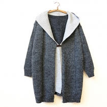 Fashion Contrast Color Hooded Mock Two-piece Knitted Cardigan
