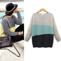 Fashion Contrast Color Long Sleeve Round Neck Knitted Sweater